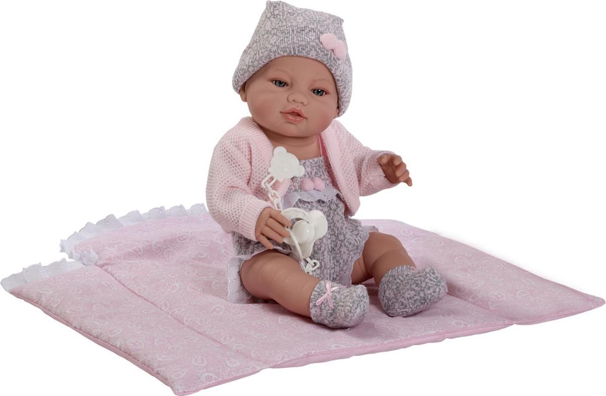 Munecas Berbesa Кукла Пупс новорожденный 42 см 5103 туника трикотажная ромашки серо розовая