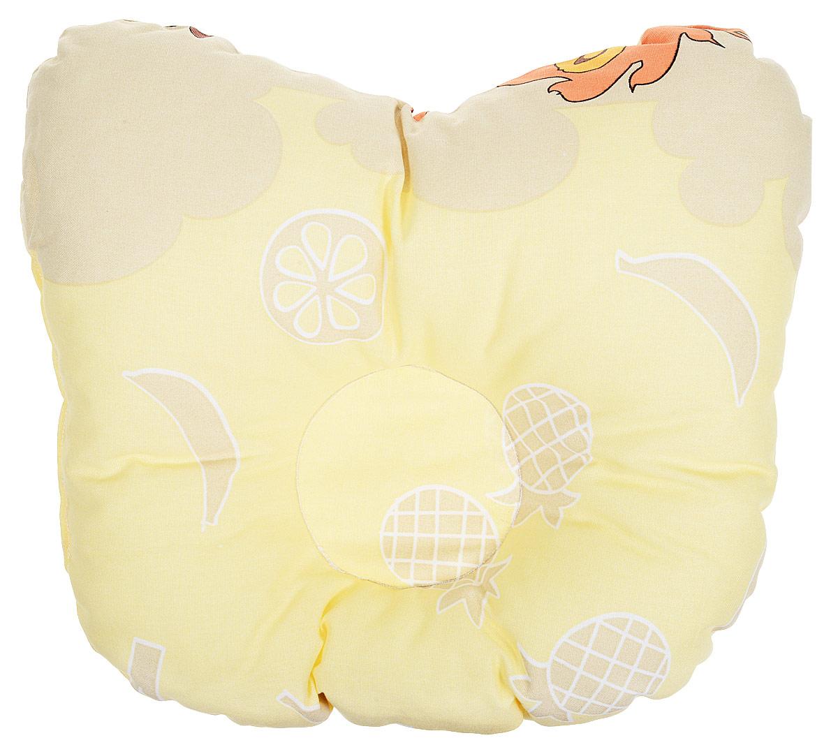 Сонный гномик Подушка анатомическая для младенцев Лимончик цвет желтый 27 х 27 см sweet years sy 6291m 06