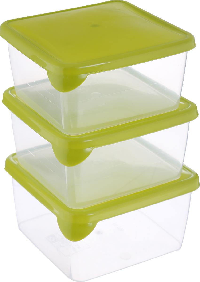 Набор контейнеров P&C Браво, цвет: прозрачный, салатовый, 450 мл, 3 шт набор контейнеров idea квадратные цвет салатовый 0 5 л 3 шт