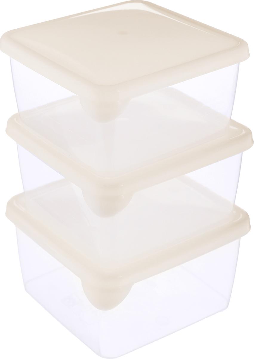 Набор контейнеров P&C Браво, цвет: прозрачный, бежевый, 450 мл, 3 шт набор контейнеров idea квадратные цвет салатовый 0 5 л 3 шт