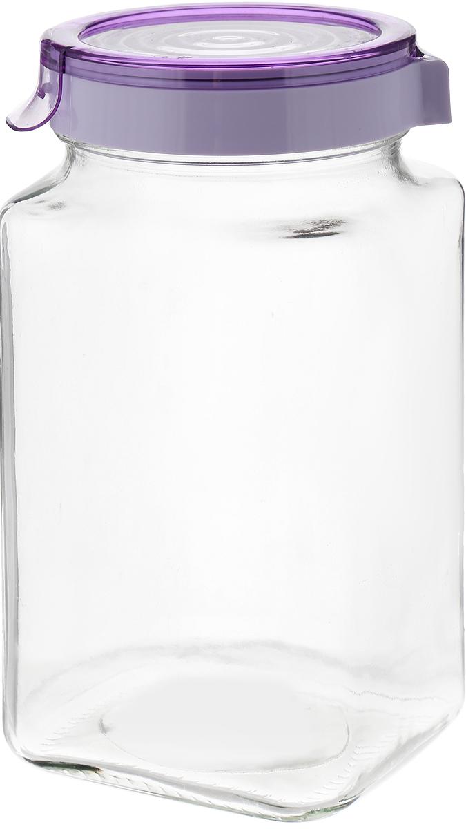 Банка для сыпучих продуктов Herevin, с крышкой, 2 л. 143016-500, цвет: фиолетовый банка для сыпучих продуктов giaretti с дозатором цвет фиолетовый 2 4 л