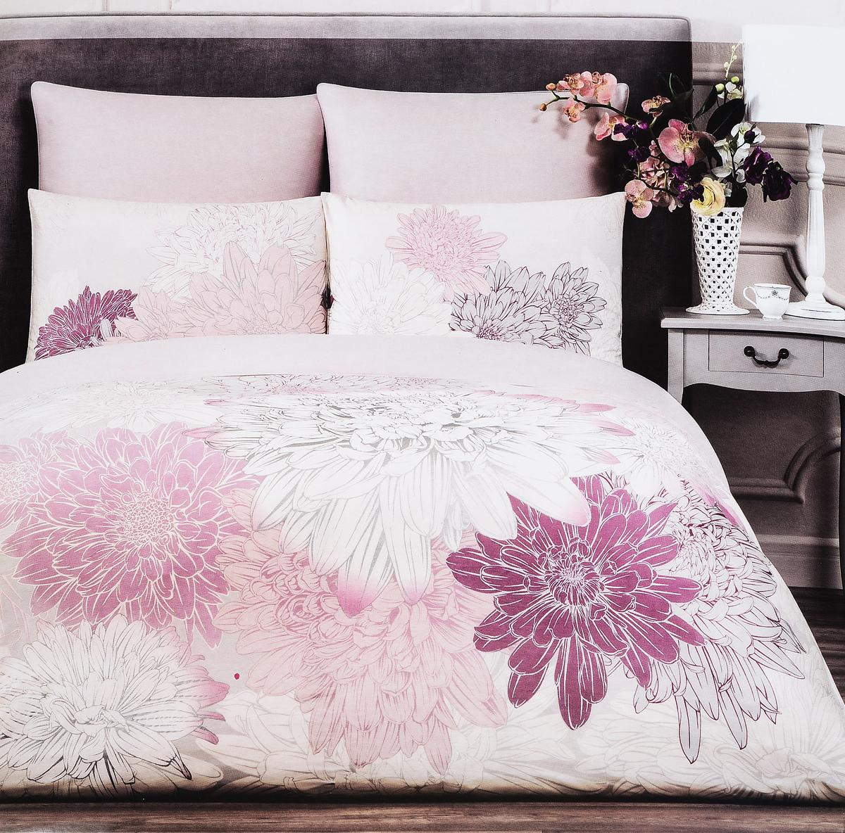 Комплект белья Togas Фудзи, 1,5-спальный, наволочки 50 x 70, цвет: светло-серый. 30.07.31.0500