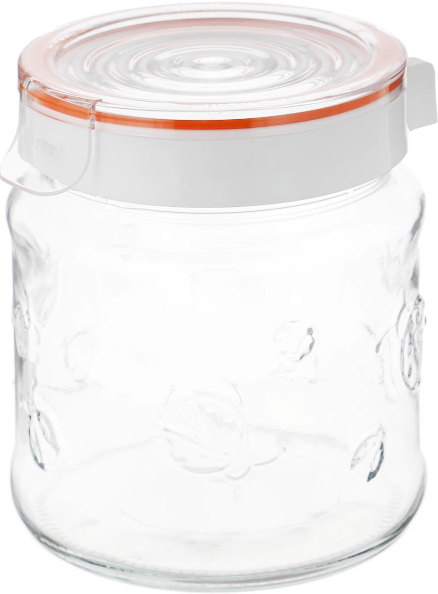 Банка для сыпучих продуктов Herevin, с крышкой, 1 л. 143100-000, цвет: оранжевый банка для сыпучих продуктов herevin 1 л 332377 053