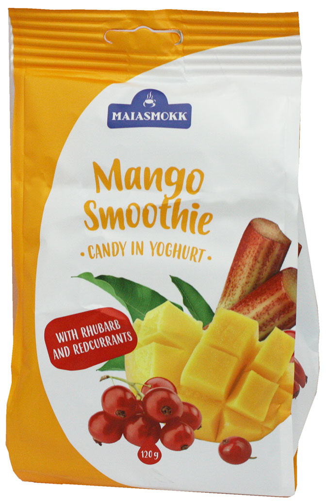Maiasmokk конфеты с манго ревенем и красной смородиной в йогуртовой глазури, 120 г sobranie финиксы конфетыс персикомвглазури 180 г