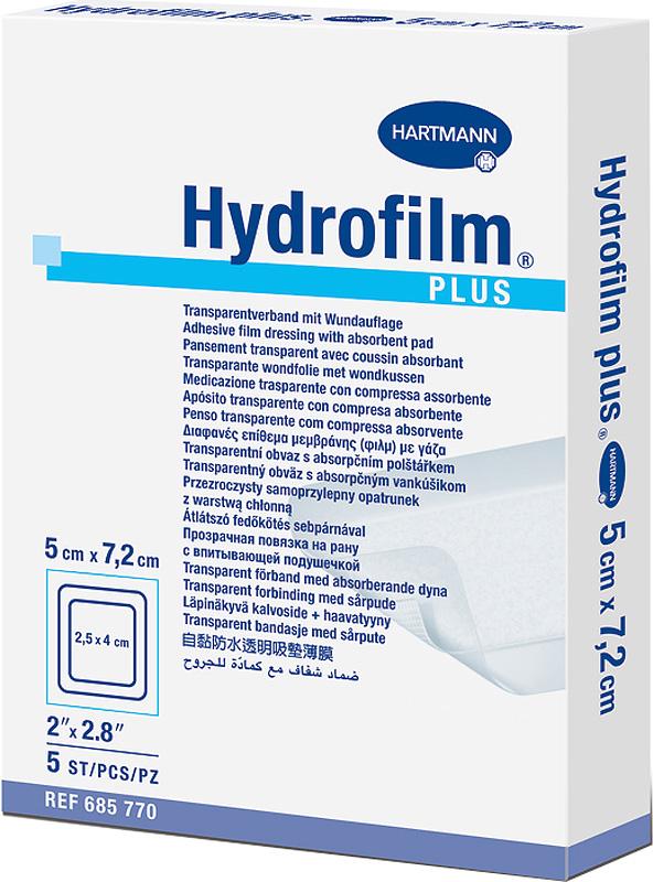Hydrofilm PlusПрозрачная самофиксирующаяся повязка с впитывающей подушечкой, 5 х 7,2 см, 5 шт Hydrofilm