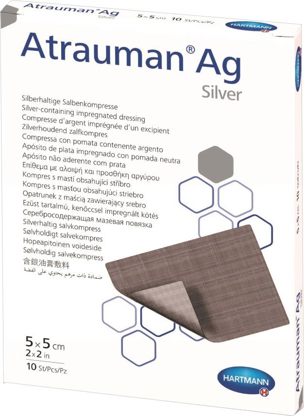 Atrauman AGСеребросодержащие мазевые повязки с пролонгированным антибактериальным действием, 5 х 5 см, 10 шт Paul Hartmann