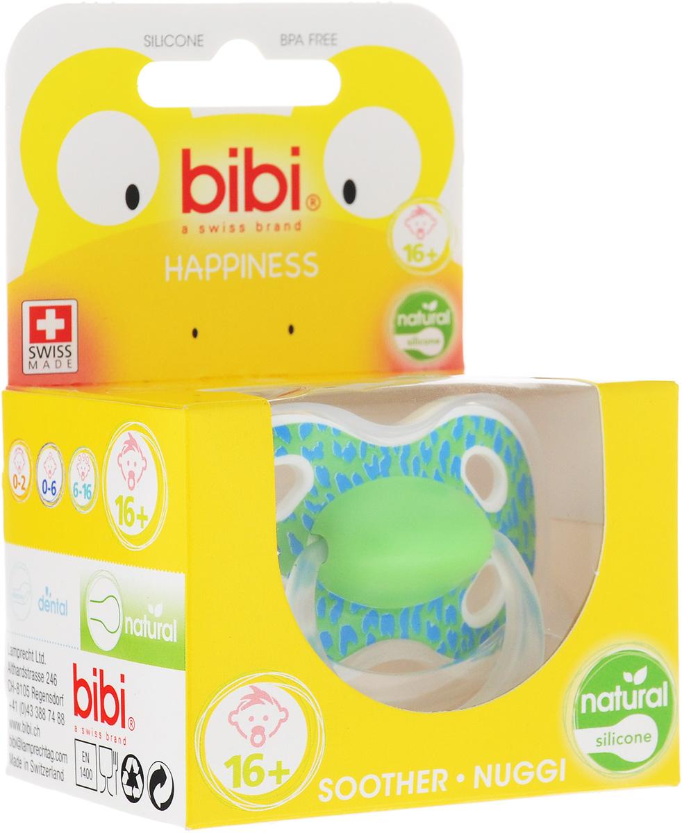 Bibi Пустышка силиконовая Happiness Ring Wild Baby от 16 месяцев цвет салатовый lubby пустышка силиконовая кнопочка от 0 месяцев цвет голубой
