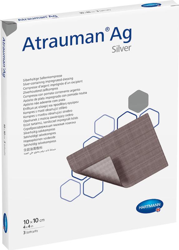 Atrauman AG Серебросодержащие мазевые повязки с пролонгированным антибактериальным действием, 10 х 10 см, 3 шт ag 12 fimo bijoux fb 3