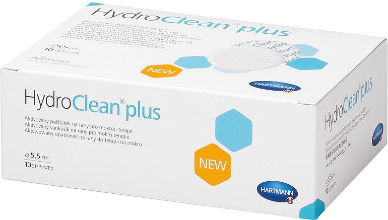HydroClean Plus Суперабсорбирующие повязки с антисептическими свойствами, активированные раствором Рингера, круглые 5,5 см, 10 шт хартманн hartmann hydroclean plus повязка активированная раствором рингера круг 4см 10шт