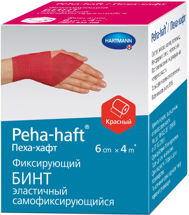 Peha-Haft Самофиксирующийся бинт, 4 м х 6 см, цвет: красный