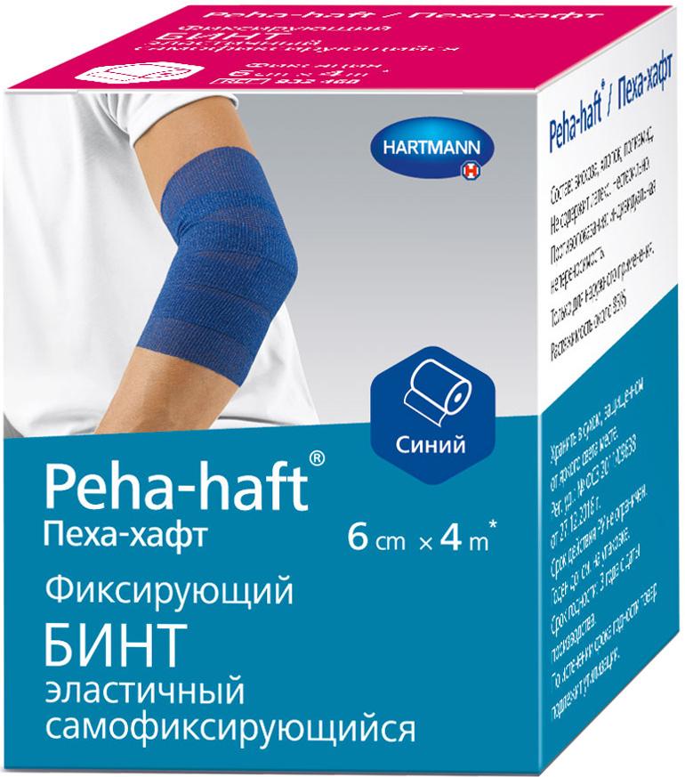 Peha-Haft Самофиксирующийся бинт, 4 м х 6 см, цвет: синий