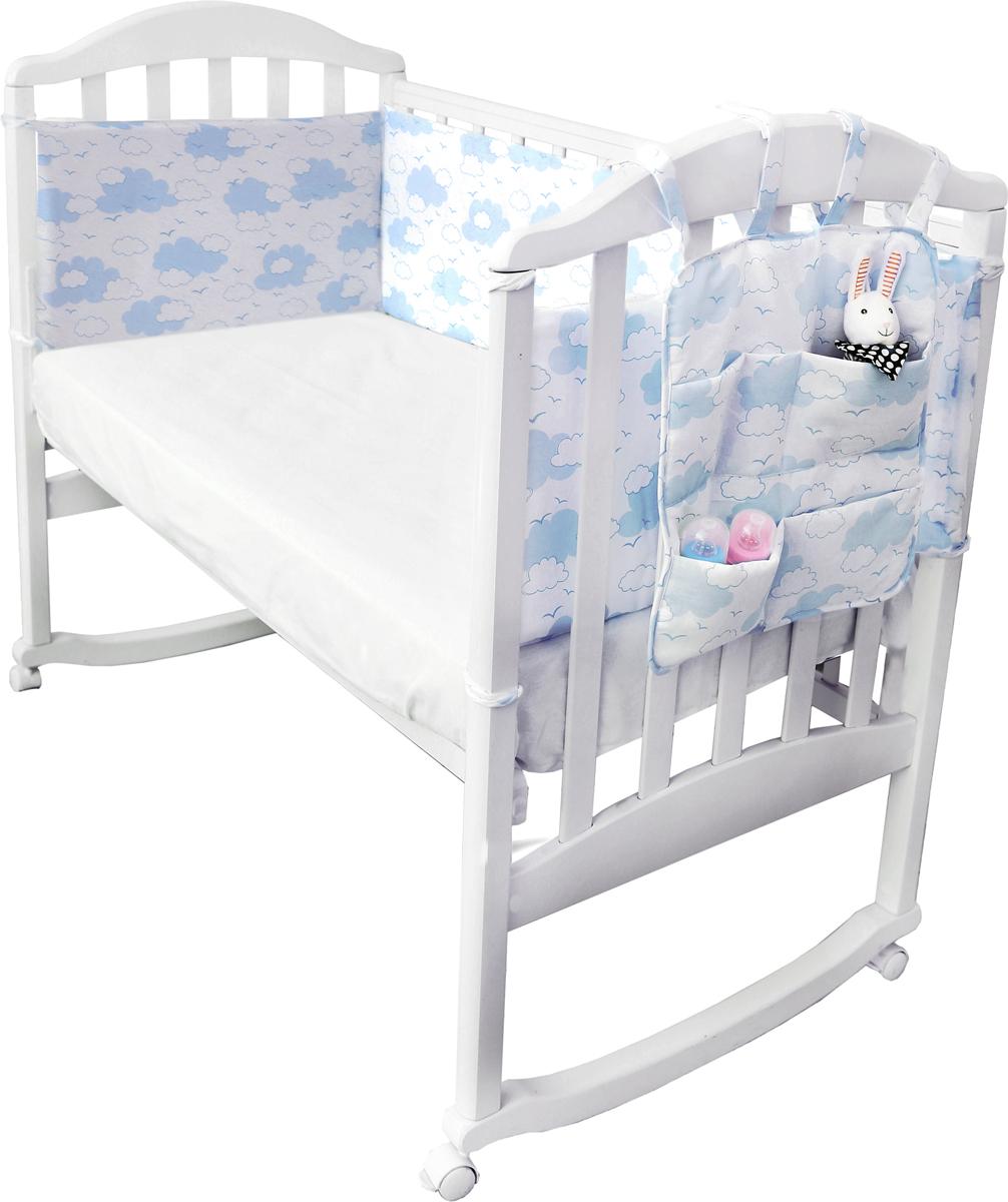 Споки Ноки Борт в кроватку с органайзером Облака цвет голубой споки ноки борт в кроватку с органайзером облака цвет голубой