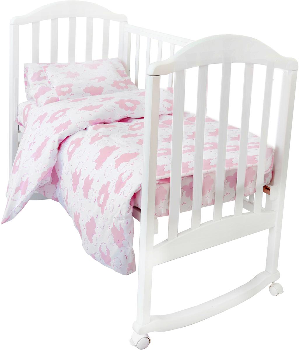Споки Ноки Комплект в кроватку Облака цвет розовый 3 предмета споки ноки борт в кроватку с органайзером облака цвет голубой