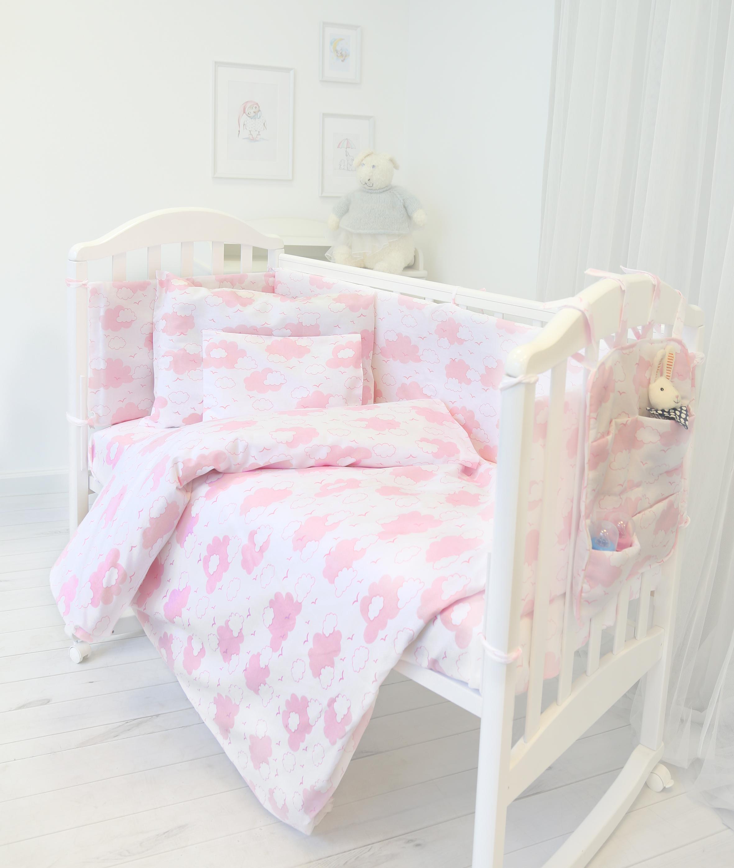 Споки Ноки Комплект в кроватку Облака цвет розовый 9 предметов розовый цвет 9 12 months