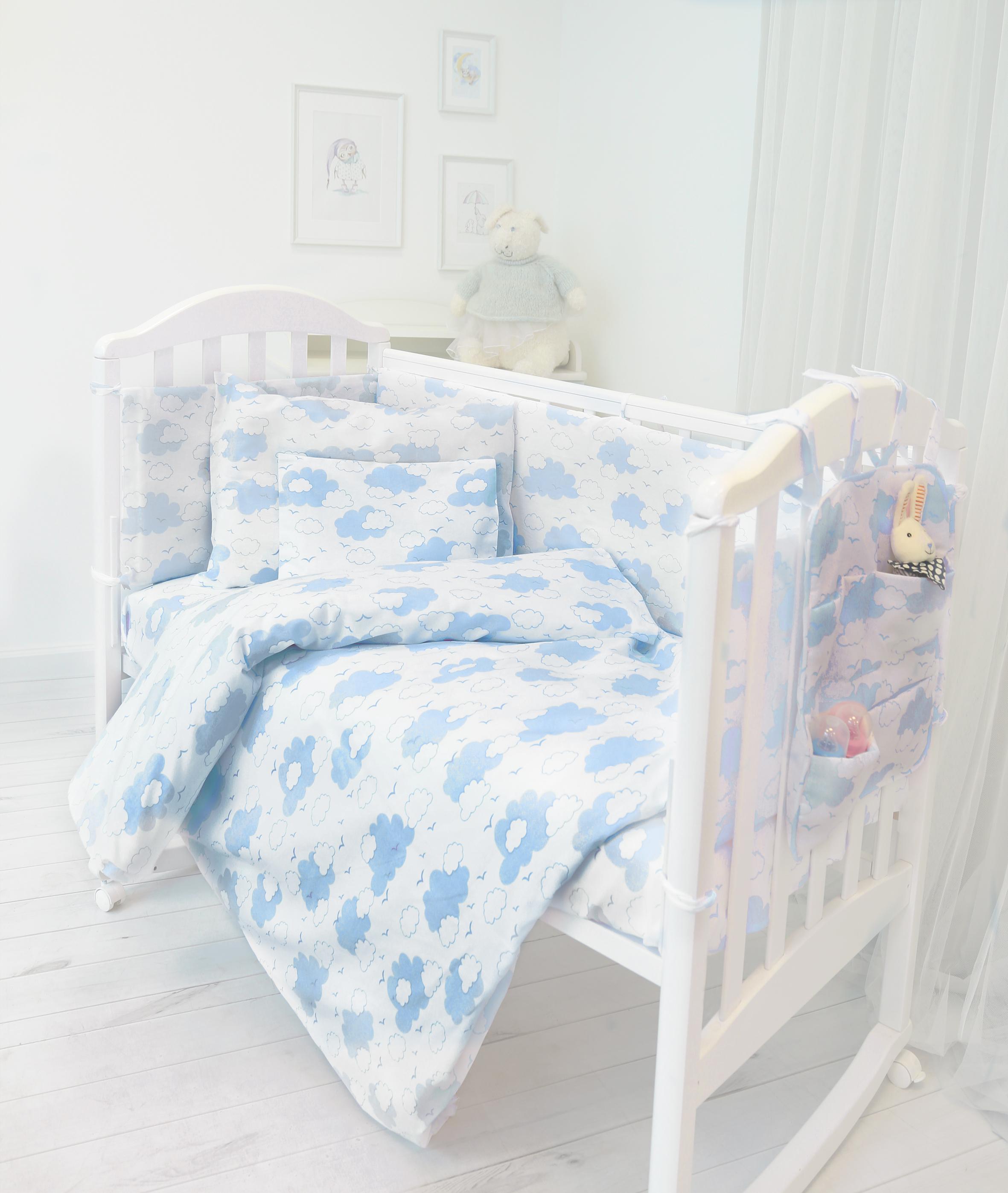 Споки Ноки Комплект в кроватку Облака цвет голубой 9 предметов цена