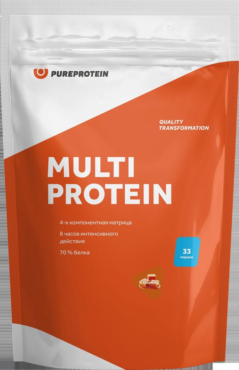 Протеин PureProtein Multicomponent Protein, сливочная карамель, 1 кг протеин qnt белковая смесь easy body protein банан клубника 350 г