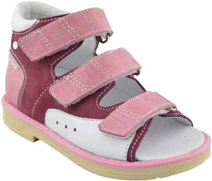 Сандалии для девочки Orthoboom, цвет: фуксия-розовый-белый. 25057-10. Размер 29