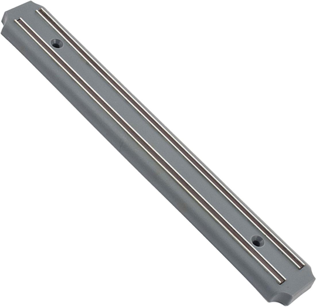 Магнитный держатель TimA выполнен из пластика, нержавеющей стали и высококачественных магнитных вставок. Магнитный держатель предназначен для удобного хранения металлических кухонных ножей, он оснащен сильными магнитами для надежной фиксации ножей. Держатель легко крепится к стене при помощи двух шурупов с дюбелями (входят в комплект). Классический дизайн изделия прекрасно подойдет к любой кухне и займет достойное место среди кухонных аксессуаров.