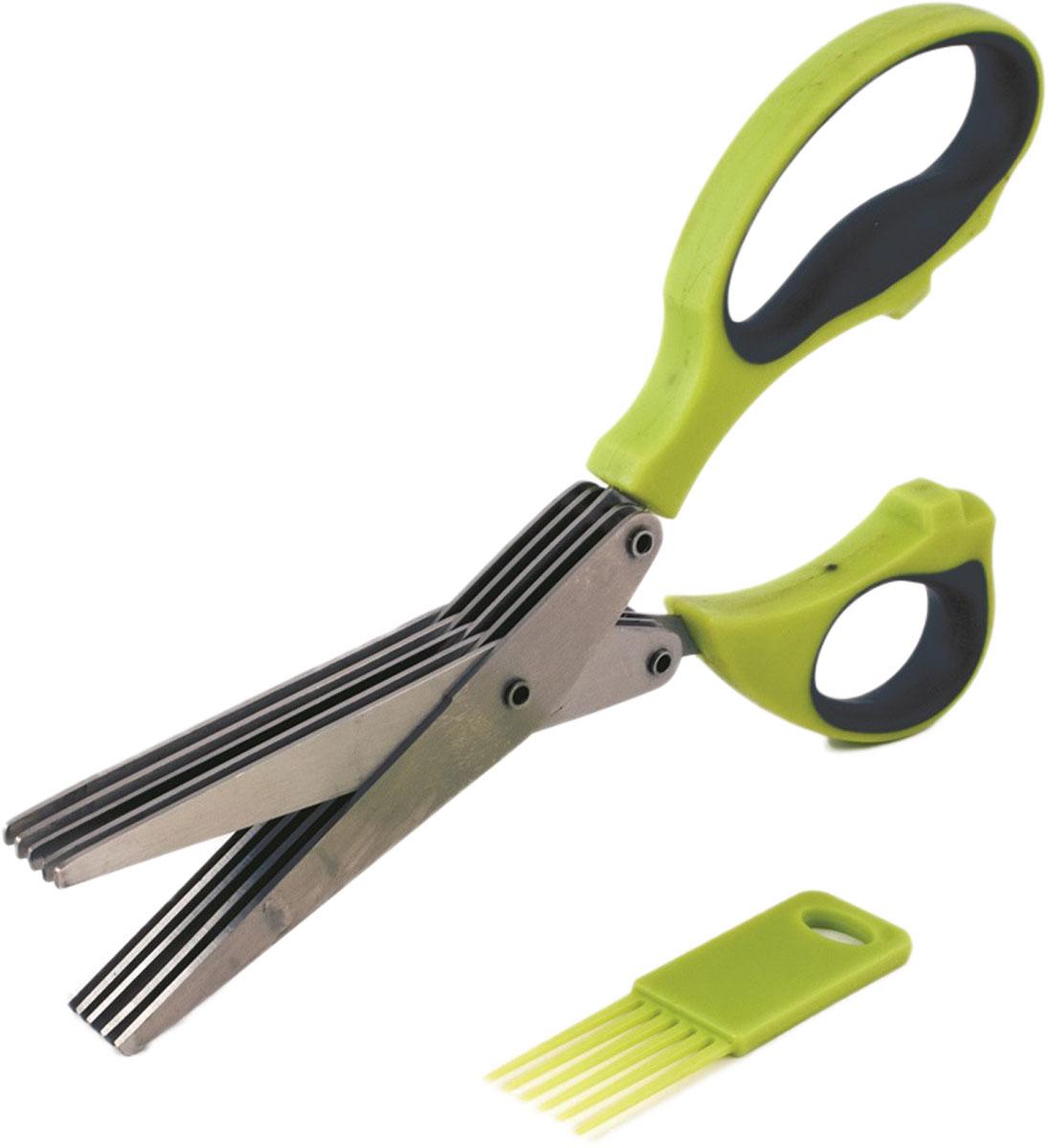 Ножницы для нарезки зелени TimA с 5 лезвиями помогут быстро и красиво нарезать зелень, не прикладывая для этого особых усилий. Такие ножницы являются ценным помощником в домашнем хозяйстве. Ножницы имеют эргономичные ручки и острые лезвия, расположенные в пять рядов, благодаря которым процесс резки становится лёгким и быстрым. В комплект ножниц входит приспособление (гребёнка) для очистки лезвий.