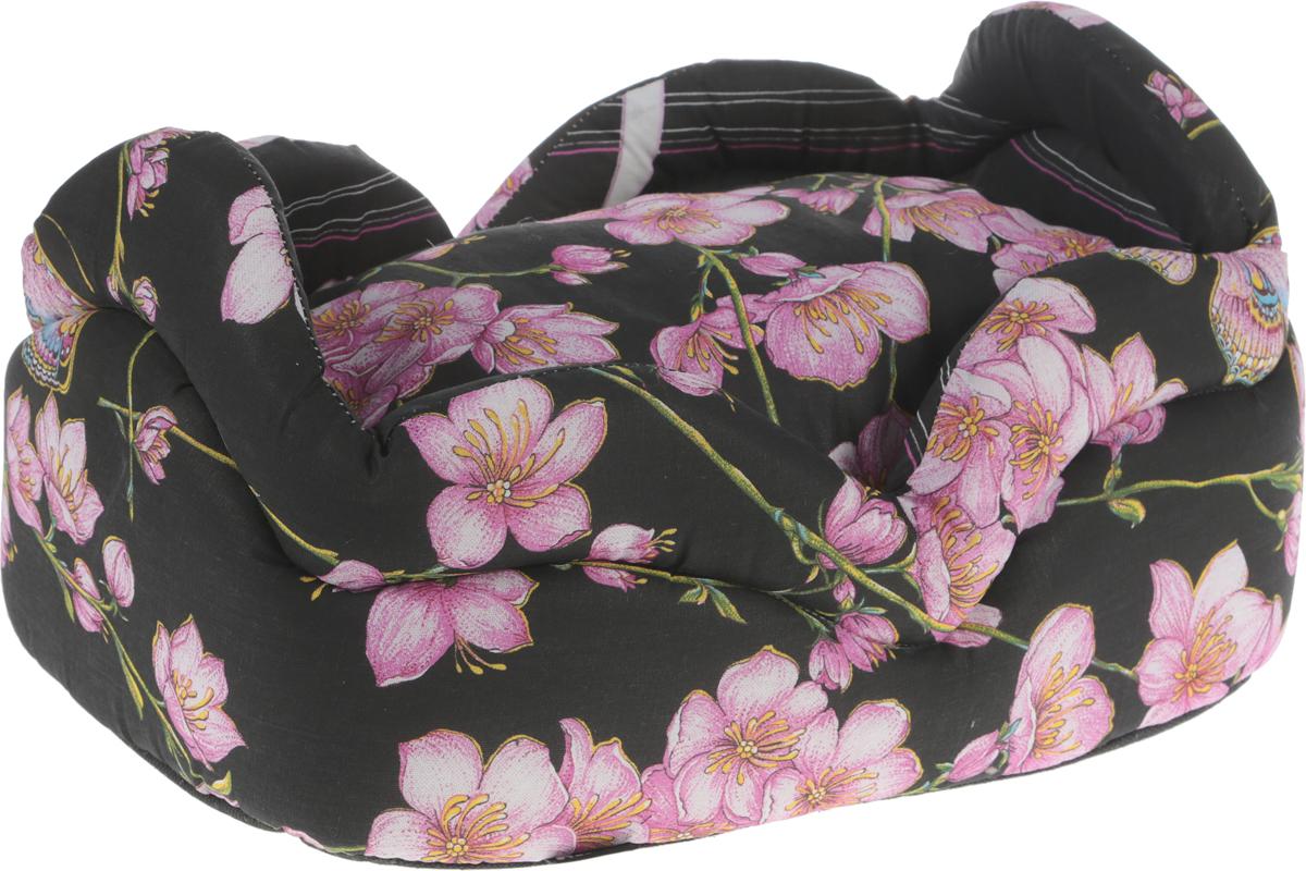 """Лежак для кошек и собак Гамма """"Цветы"""", цвет: черный, 45 см х 31 см х 24 см"""