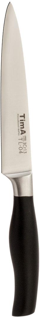 """Нож универсальный TimA """"Lite"""" изготовлен из нержавеющей стали 3Cr13 представляет собой модифицированную сталь марки 440А (одна из самых популярных марок ножевой стали среднего ценового диапазона), закаленную до твердости примерно 57 HRC. Высокое содержание хрома (13%) не только увеличивает твёрдость и износостойкость, улучшая тем самым режущие свойства лезвия, но и придаёт стали антикоррозийные свойства. А благодаря повышенному содержанию углерода лезвие прекрасно держит режущую кромку. Нож выполнен в японском стиле. Ручка эргономичной формы изготовлена из матового полипропилена. Материал ручки приятен на ощупь, не скользит в руках, обладает высокой стойкостью к маслам, щелочам и кислотам, которые на кухне не редкость. Устойчив к загрязнениям, легко моется и не оставляет на поверхности следов от пальцев. Универсальный нож прекрасно подойдет для грубой чистки и нарезки овощей, фруктов, зелени и мяса."""