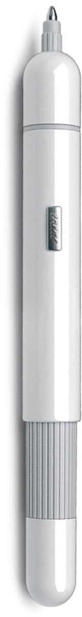 Lamy pico (288) Шариковая ручка карманного формата, трансформирующаяся в полноразмерный пишущий инструмент. Создана знаменитым швейцарским промышленным дизайнером Франко Кливио. Очень простой в использовании нажимной механизм активирует пишущий узел и превращает мини-ручку в полноразмерную. Немного выступающий из корпуса логотип LAMY не дает ручке скатиться с наклонной поверхности. Ручку удобно носить в кармане брюк или в маленькой сумочке – мини-формат и скругленные формы это позволяют. Активированная до полного размера, ручка дает возможность насладиться комфортным письмом. Металлический корпус, покрытый белым балком. Используется со стержнем Lamy M22 Поставляется в подарочной коробке. Дизайн: Франко Кливио История бренда LAMY насчитывает более 80-ти лет, а его философия заключается в слогане «Дизайн. Сделано в Германии». Компания получила более 100 самых престижных дизайнерских наград. Все пишущие инструменты LAMY производятся на фабрике в Гейдельберге (Германия).