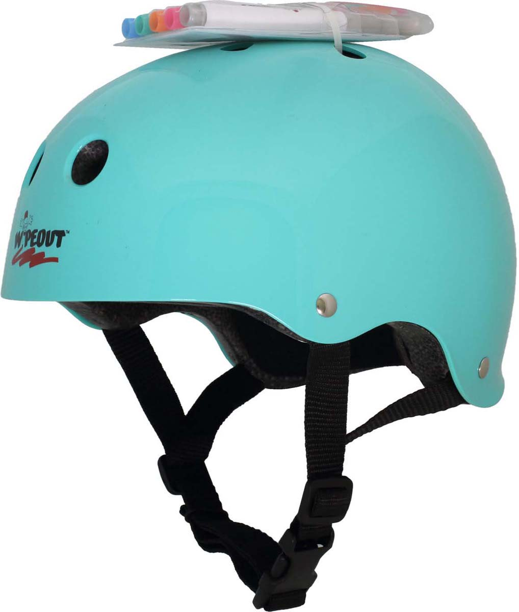 Шлем Wipeout, с фломастерами, цвет: бирюзовый. Размер M (5+)