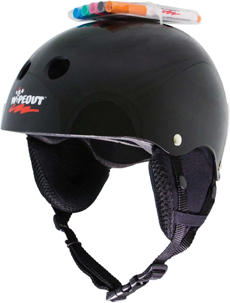 """Зимний шлем """"Wipeout"""", с фломастерами, цвет: черный. Размер M (5+)"""