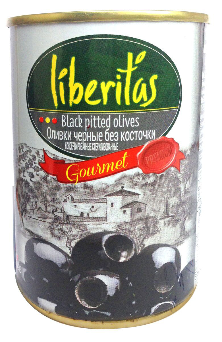 Liberitas Оливки черные без косточки, 280 г оливки franco olliani франко оллиани гигант без косточки 280мл ст банка