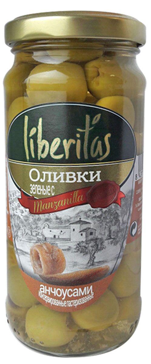 Liberitas Оливки зеленые с анчоусом, 240 г оливки зелёные delphi без косточки в рассоле 350 г