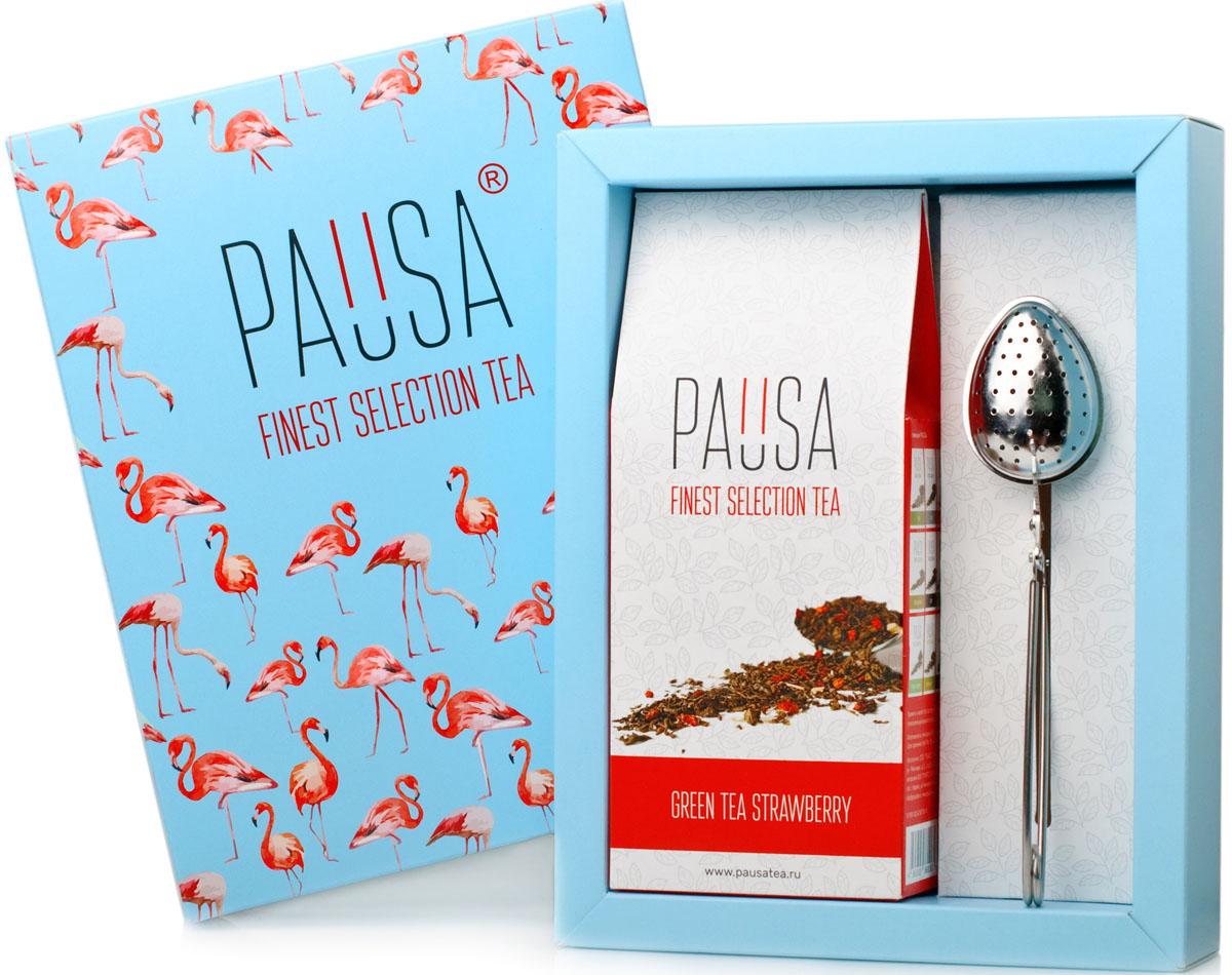 Pausa Flamingo зеленый чай клубника со сливками подарочный набор, 90 г teacher клубника со сливками зеленый чай премиум 500 г