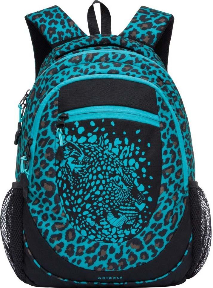 Grizzly Рюкзак Леопард цвет бирюзовый RD-835-2/3 grizzly рюкзак цвет синий rd 835 2 1
