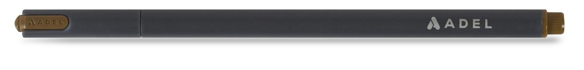 Капиллярная ручка Adel Fineliner.  Цвет коричневый. Толщина линии 0,4 мм. Длина письма 500 метров. Функциональная капиллярная ручка эргономичной формы с вентилируемым колпачком. Корпус ручки изготовлен из гладкого матового пластика, который по тактильным ощущениям напоминаем каучуковую поверхность. Благородный серый цвет корпуса идеально сочетается и дополняется деталями отделки в цвет чернил. Чернила ярких цветов ложатся ровно и мягко на бумажную поверхность, создавая идеально ровную филигранно тонкую линию письма. Удобная форма металлической части пишущего наконечника позволяет использовать ручку не только для рисования и письма, но и для черчения, в том числе и с использованием линейки.