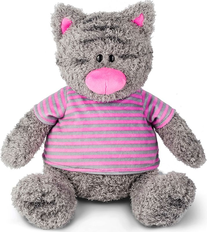 Maxitoys Luxury Мягкая игрушка Серый Кот в полосатой майке 25 см цена