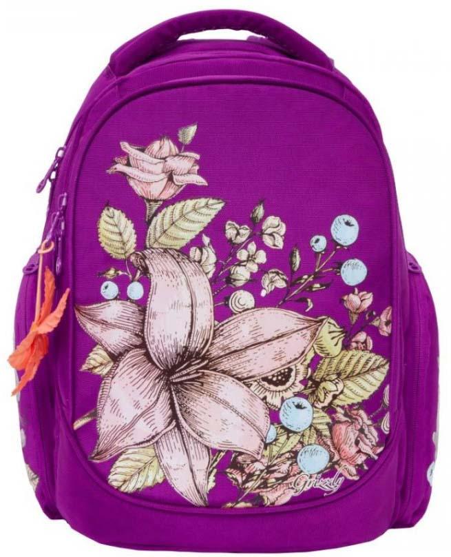 Grizzly Рюкзак школьный цвет фиолетовый RG-867-1/2 рюкзак grizzly rg 867 2 4 grey