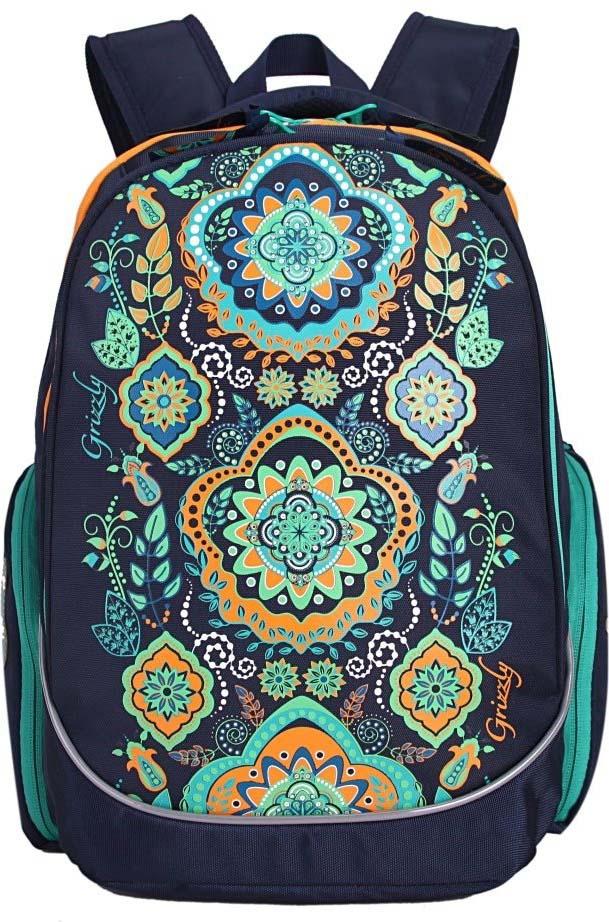 Grizzly Рюкзак школьный цвет темно-синий RG-867-2/1 рюкзак grizzly rg 867 2 4 grey