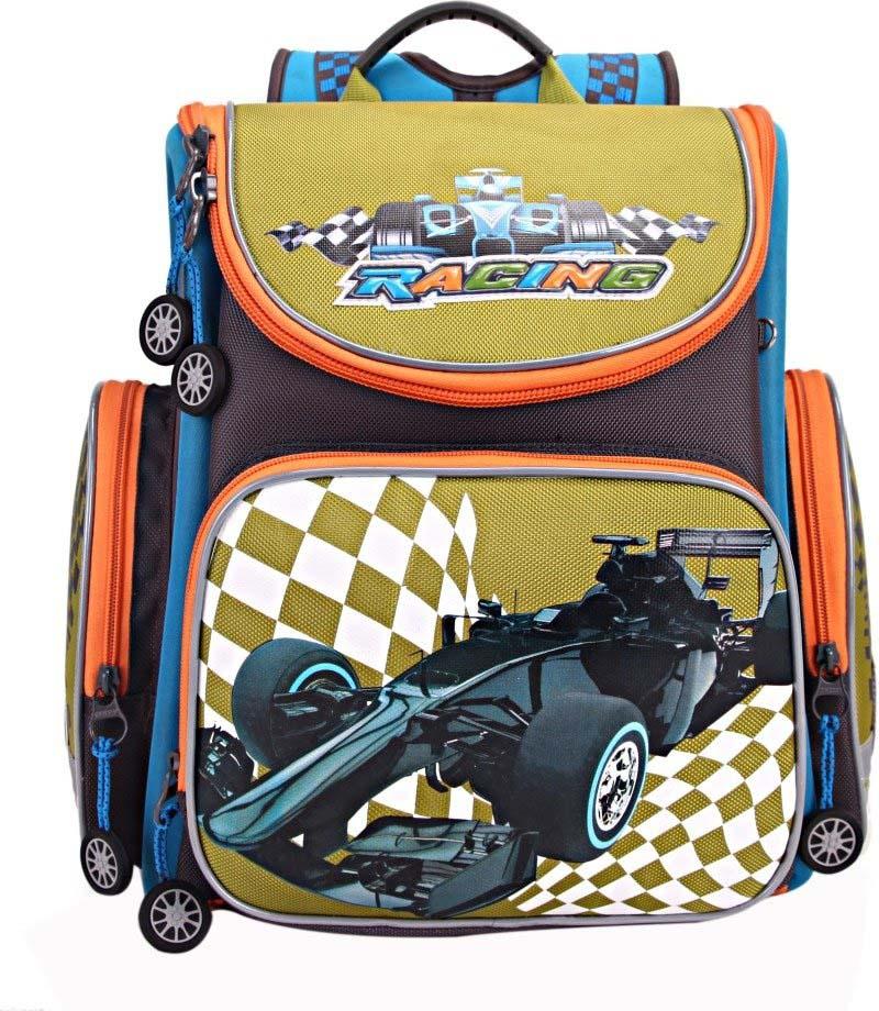 Grizzly Рюкзак школьный с мешком цвет серый зеленый RA-870-2/1 рюкзак школьный scotch 40 30 14см серый с красным 7033784