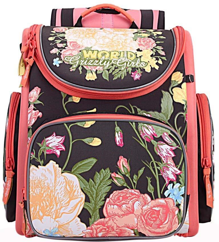 Grizzly Рюкзак школьный с мешком цвет темно-серый RA-871-4/3 grizzly рюкзак школьный с мешком цвет розовый ra 879 8