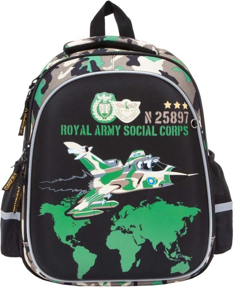 Grizzly Рюкзак школьный цвет хаки RA-878-4/1 grizzly рюкзак школьный цвет фиолетовый ra 879 4 1