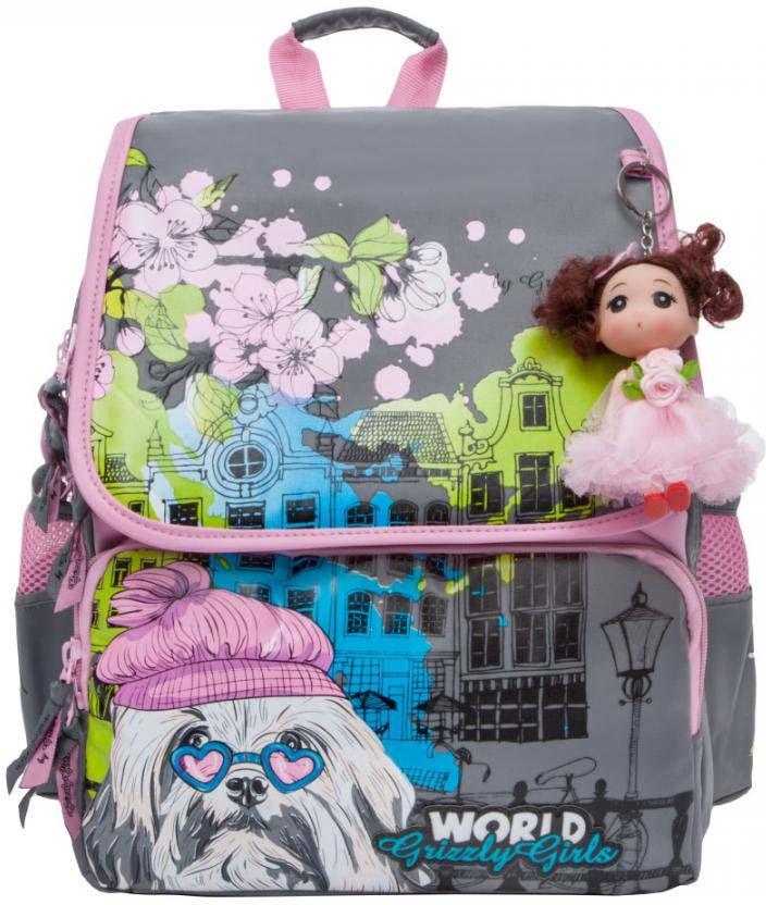 Grizzly Рюкзак школьный цвет серый розовый RA-877-1/2 grizzly рюкзак школьный с мешком цвет розовый ra 879 8