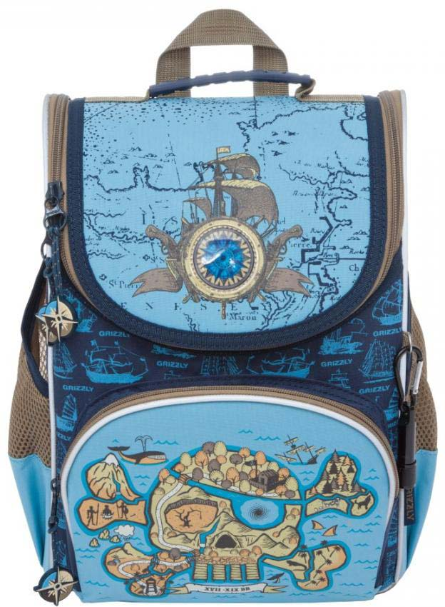 Grizzly Рюкзак школьный с мешком цвет синий голубой RA-872-1/1 grizzly рюкзак школьный с мешком цвет розовый ra 879 8