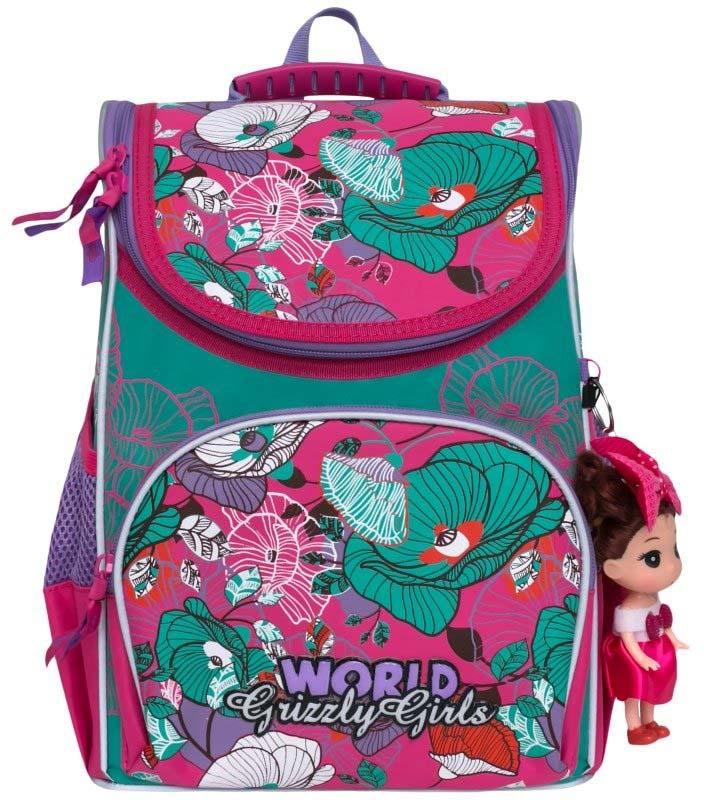 Grizzly Рюкзак школьный с мешком цвет фуксия мятный RA-873-3/1 grizzly рюкзак школьный с мешком цвет розовый ra 879 8