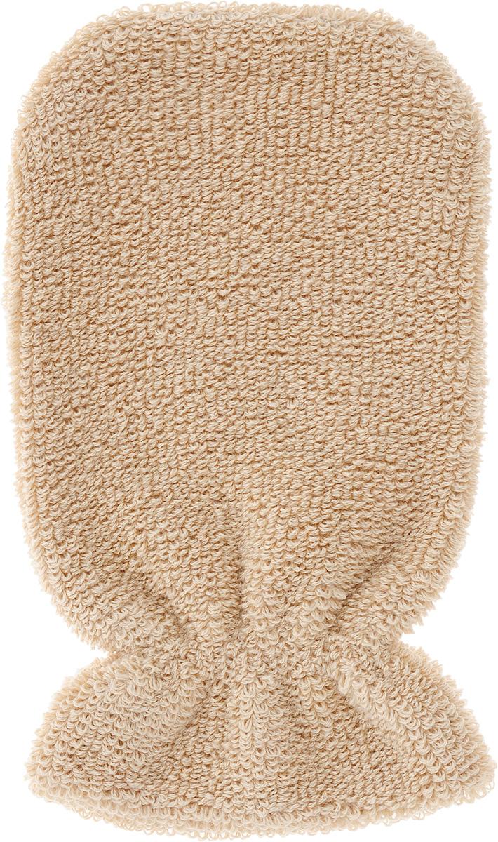 Мочалка-рукавица Riffi, мягкая, цвет: бежевый мочалка рукавица riffi жесткая цвет коралловый