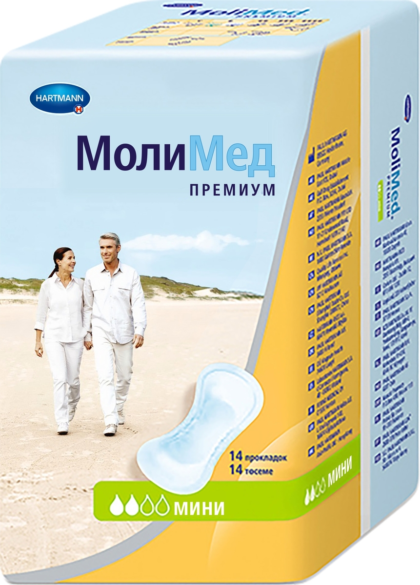 MoliMed Premium Mini Урологические прокладки, 14 шт прокладки урологические hartmann molimed premium maxi 14 шт