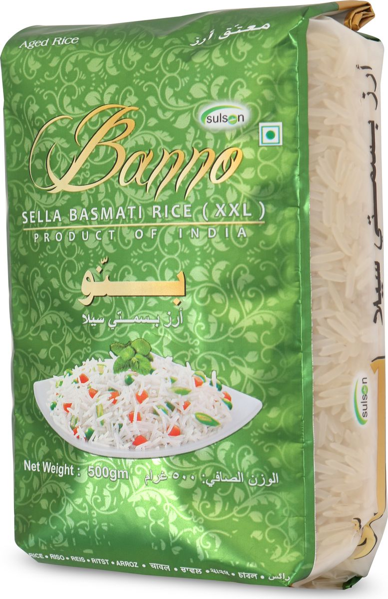 Banno Sella басмати рис обработанный паром, 500 г метака рис басмати 800 г