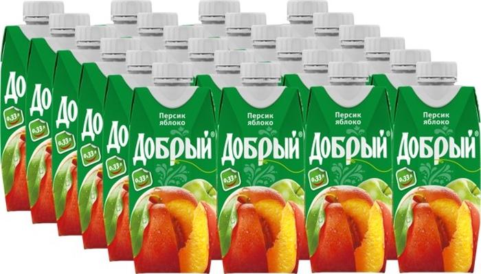 Добрый нектар Персик Яблоко, 24 штуки по 0,33 л добрый апельсиновый нектар 24 штуки по 0 33 л