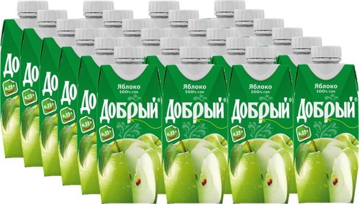 Добрый Яблочный сок 24 штуки по 0,33 л добрый кашалот молочно соковый коктейль клубника 1 л