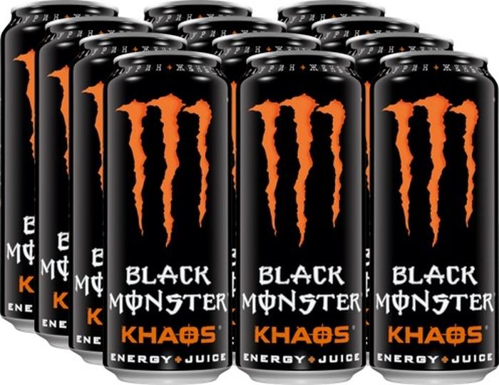 Black Monster Khaos энергетический напиток, 12 штук по 0,5 л
