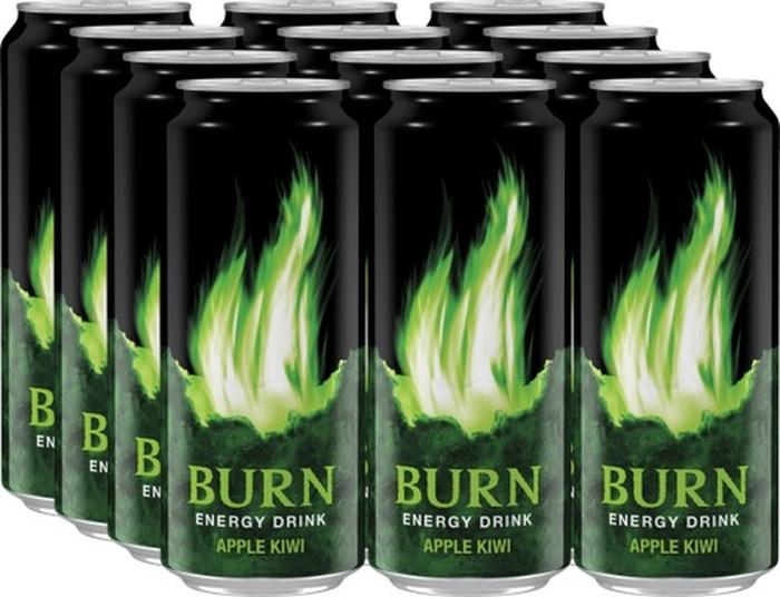Burn Apple Kiwi энергетический напиток, 12 штук по 0,5 л