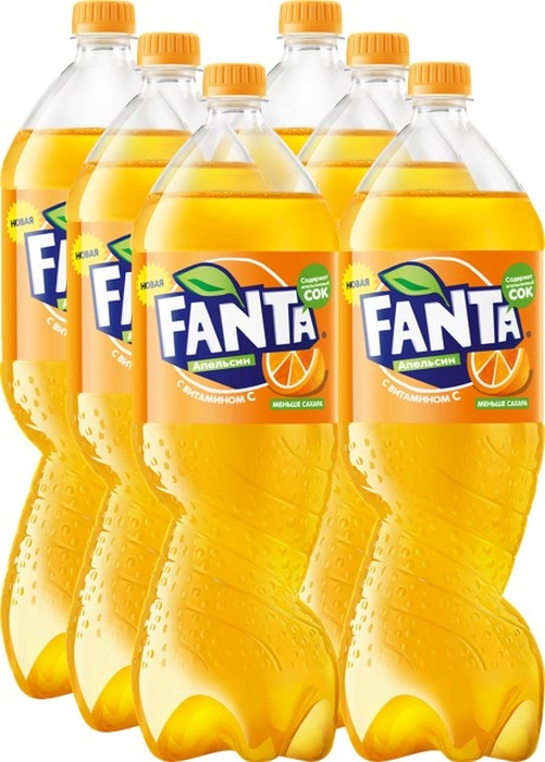 Fanta Апельсин напиток сильногазированный 6 штук по 2 л fanta цитрус напиток сильногазированный 1 5 л